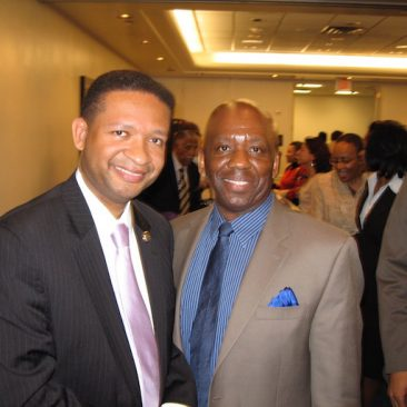Calvin Earl with Congressman Artur Davis(AL) cosponsor H. RES 120 recognizing the African American Spiritual as a National Treasure in 2007. 110th US Congress.
