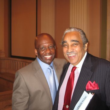 Calvin Earl with Congressman Charles Rangel(NY) cosponsor H. RES. 120 recognizing the African American Spiritual as a National Treasure 2007. 110th US Congress