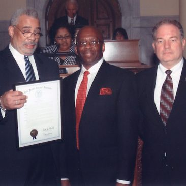 Dr. Charles Epps, Louis M. Manzo with the NJ State Assembly honoring Calvin Earl's achievements moving the US Congress's historic Twin Resolutions recognizing the African American Spiritual as a National Treasure.