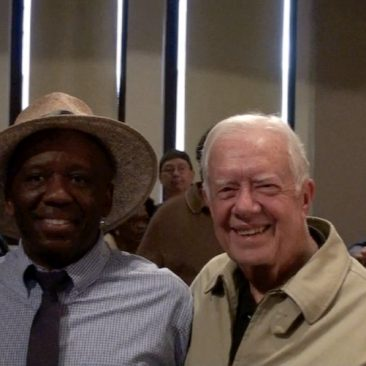 President Jimmy Carter with Calvin Earl at the Jimmy Carter National Historic Site (US National Park Service), Plains, GA following a performance by Calvin Earl.