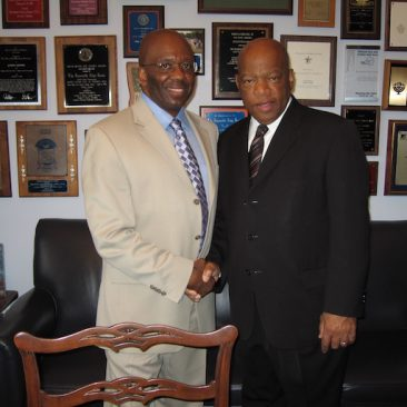 Congressman John Lewis (GA) cosponsor H.RES 120 recognizing the African American Spiritual as a National Treasure with Calvin Earl