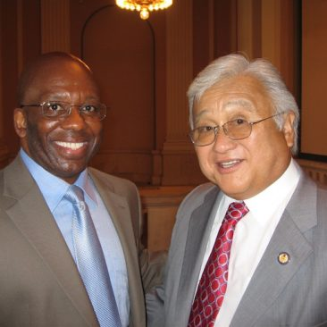 Calvin Earl with Congressman Michael M. Honda(CA) cosponsor H. RES 120 recognizing the African American Spiritual as a National Treasure. 110th US Congress