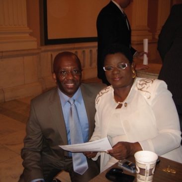 Calvin Earl with Congresswoman Gwen Moore(WI) cosponsor H. RES 120 recognizing the African American Spiritual as a National Treasure in 2007. 110th US Congress.