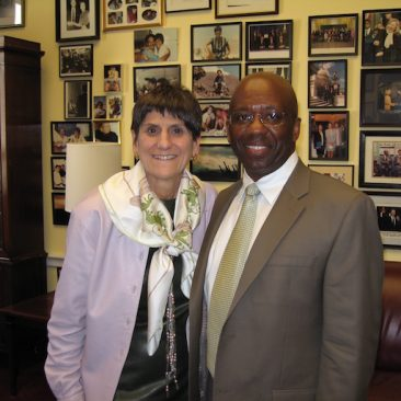 Calvin Earl with Congresswoman Rosa DeLauro(CT) Sponsor H. RES. 120 recognizing the African American Spiritual as a National Treasure 2007.  110th US Congress.