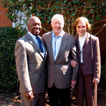 Picture taken following a performance by Calvin Earl at Maranatha Baptist Church, Plains, GA  church service with President Jimmy Carter and Rosalynn Carter.