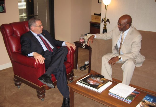 Calvin Earl talking with Senator Robert Menendez(NJ) Sponsor S. RES 69 recognizing the African American Spiritual as a National Treasure in 2007. 110th US Congress.