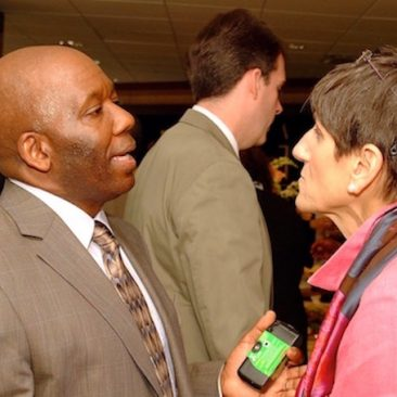 Calvin Earl with Congresswoman Rosa DeLauro(CT) attending a Congressional reception event sponsored by Faith and Politics in Washington DC 2006.
